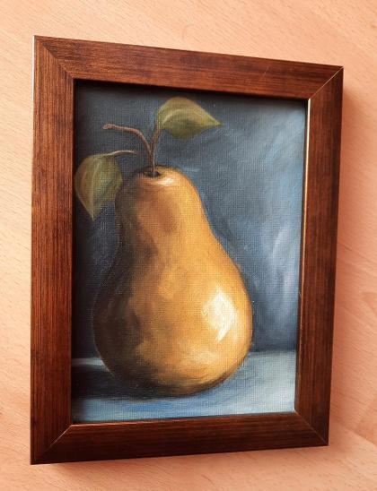 Hruška - Malba Akrylem 13x18 cm - Umění