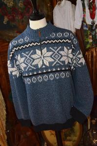 Modrý pánský svetr s vlnou vel. XL