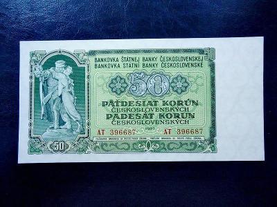 50 korun 1953 Serie AT NEPERFOROVANA UNC