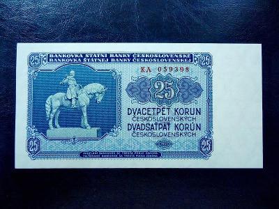 25 korun 1953 Serie AT NEPERFOROVANA UNC