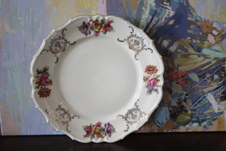 Nádherné starožitné porcelánové talíře - značeno - Porcelán