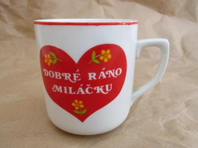 Porcelánový hrnek Dobré ráno miláčku zn. korunkou Czechoslovakia