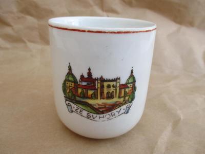 Starožitný porcelánový hrnek zn JSK  -  Ze Sv. Hory