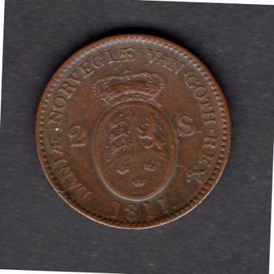 NORSKO pod Dánskem : 2 Skilling  1811  Frederik VI.