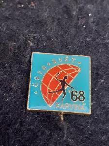 Odznak zápas v házené ČSSR - SVĚT KARVINÁ 1968, modrá varianta