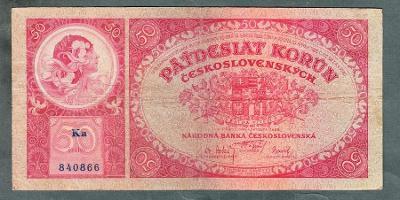 50 korun 1929 serie KA NEPERFOROVANA