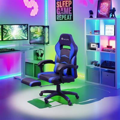 tectake 403464 kancelářská židle s opěrkou pro nohy - černá/modrá