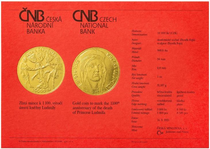 Zlatá mince 10.000 Kč Kněžna Ludmila 2021 b.k. - Numismatika