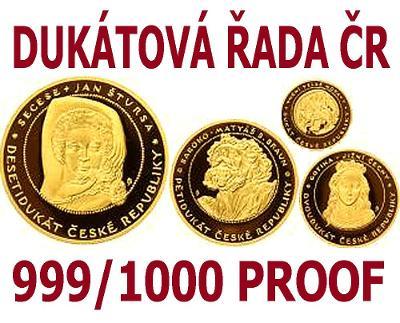 Dukátová řada ČR, 1+1/2+1/4+ 1/10 Oz, dřevěná etue, certifikát
