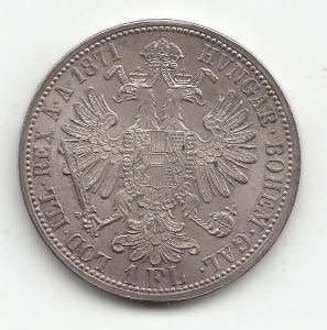 """Fr.J.I.,1 zlatník 1871 A, """"R"""" - vzácny ročník, super stav TOP, od 1 Kč"""