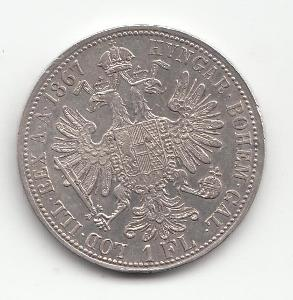 """Fr.J.I.,1 zlatník 1867 A, """"R"""" - vzácny ročník, super stav TOP, od 1 Kč"""