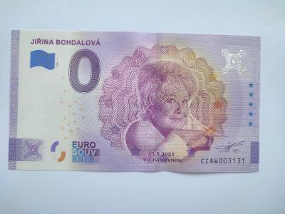 Bankovka Jiřina Bohdalová 0 EUR s unikátním číslem 3131