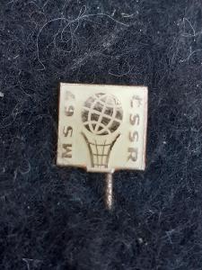 Odznak MS ČSSR 1967 BASKETBAL ŽEN, bílá varianta