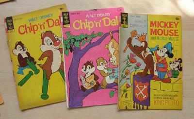 Gold Key * 3  komiksové sešity * Disney * Chip n Dale, Mickey Mouse ad