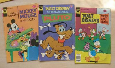 Whitman * 3  komiksové sešity * Disney, Mickey Mouse, Pluto, Ch n D ad