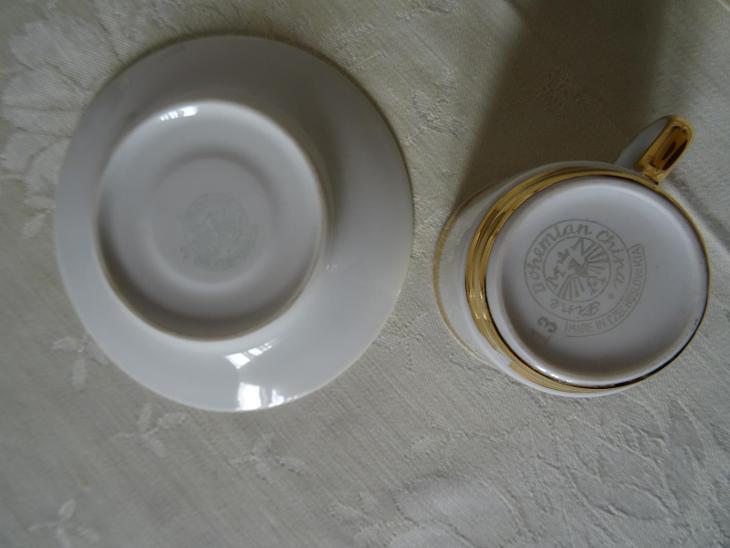 5x šálek + 4x podšálek - Made in Czechoslovakia - Porcelán