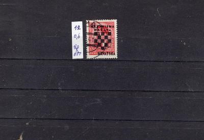 Jugoslávie /Chorvatsko/ ražená známka Mi 12