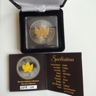Stříbrná investiční mince 1 Oz Maple Leaf 2015