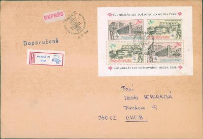 10B3553 Dopis Praha - Cheb, aršík - zoubkované a nezoubkované známky