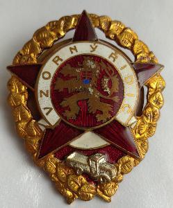 Vojenský odznak ČSR z 50. let - Vzorný řidič (zlacený lev)