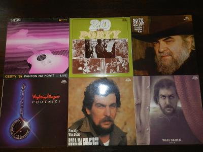 7x vinyl LP - country, folk a trampská hudba
