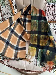 Velká šála ( kostka )na jaro/podzim (50% kašmir , 12% lana ) Cashmere