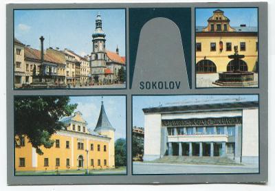 SOKOLOV - náměstí, kašna...