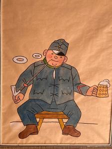 RARITA - velký obraz voják Švejk ..malba JOSEF LADA