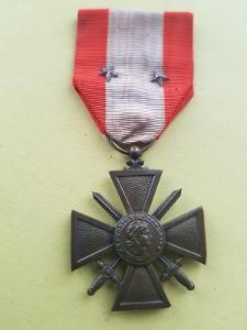 Francie - Válečný kříž 1914-18 -zahraniční operace TOE, 2x stř. citace