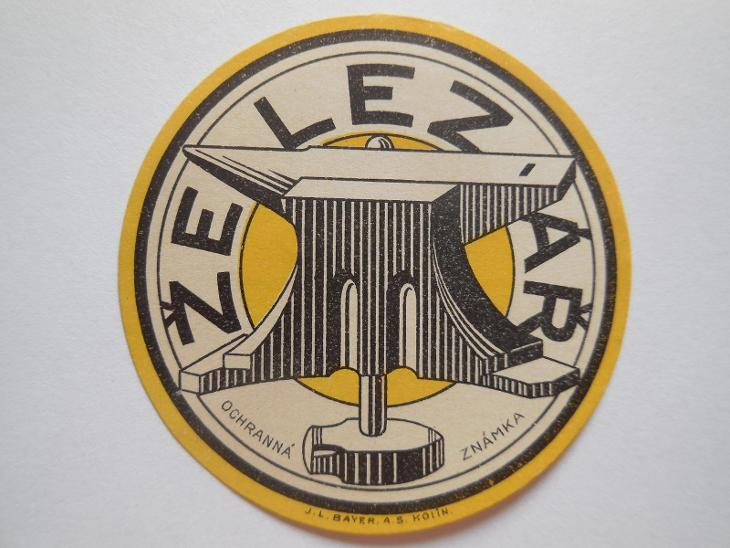 Etiketa-ochranná. známka ŽELEZÁŘ- prům. 61 mm - Antikvariát