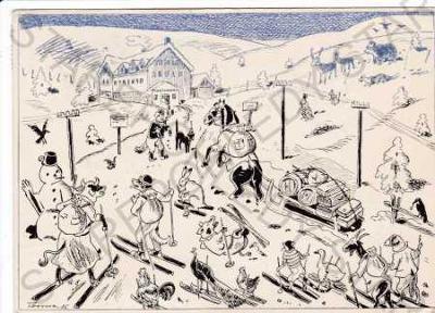 Martinova bouda (Bedřichov), humorně laděná kresba