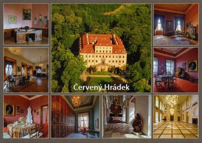 zámek Červený Hrádek - letecký pohled a interiéry zámku