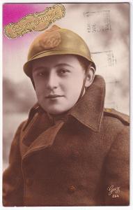 Pohlednice voják s přilbou, Belgie