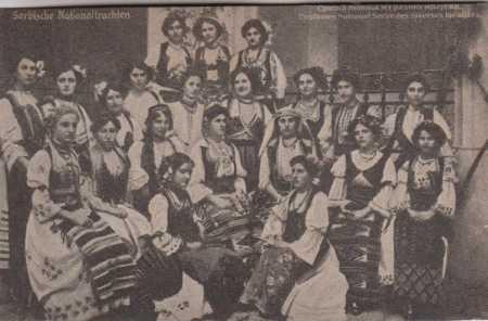 Skupinový portrét Srbských žen v národním oblečení
