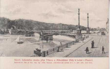 Praha 1, návrh železného mostu přes Vltavu - Pohlednice
