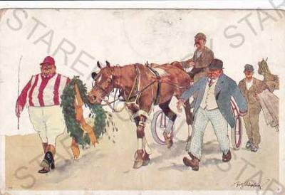 Koňské dostihy-humorně laděná kresba