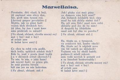 MARSELLAISA - ČESKÝ TEXT - 8-HG94