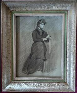 Kresba na čtvrtce, sign. L.Marold 1895, Dáma se šálou, rám k dispozici