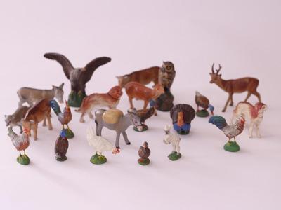 Konvolut hliněných figurek - domácí zvířata