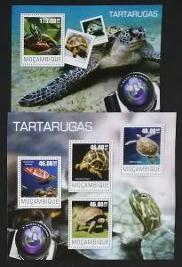 Mozambik 2014 Mi.7580-3+Bl.956 20€ Mořské želvy, plazi a fauna