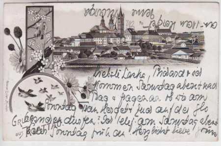 Klatovy (Klattau), celkový pohled, litografie, DA