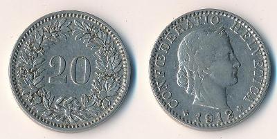 Švýcarsko 20 rappen 1912
