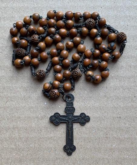 Starý poutní růženec 19 st. kříž svátostka Madona medailon TOP kus č.1 - Starožitnosti