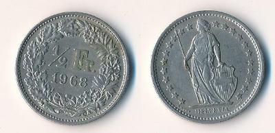 Švýcarsko 1/2 frank 1968