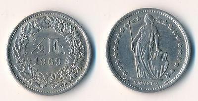 Švýcarsko 1/2 frank 1969