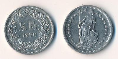 Švýcarsko 1/2 frank 1970