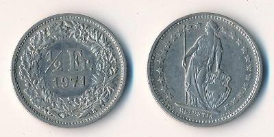 Švýcarsko 1/2 frank 1971