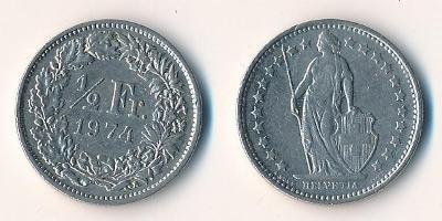 Švýcarsko 1/2 frank 1974