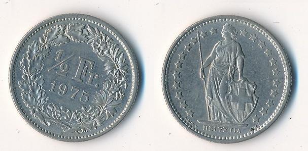 Švýcarsko 1/2 frank 1975