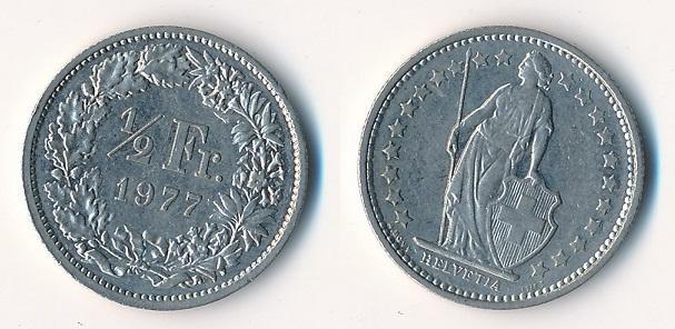 Švýcarsko 1/2 frank 1977